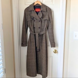Gerard Darel Plaid Tweed Double-breasted Long Coat